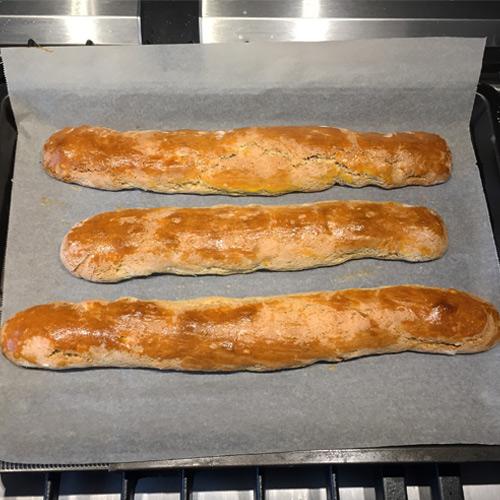 boudins de pâte cuits