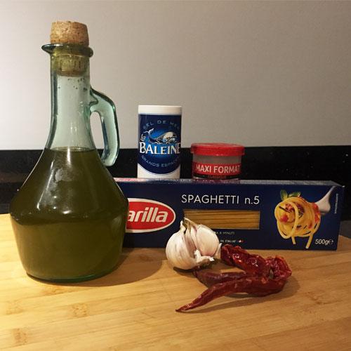 ingrédients pour spaghetti ail huile piment