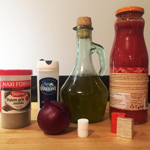 ingrédients pour sauce tomate