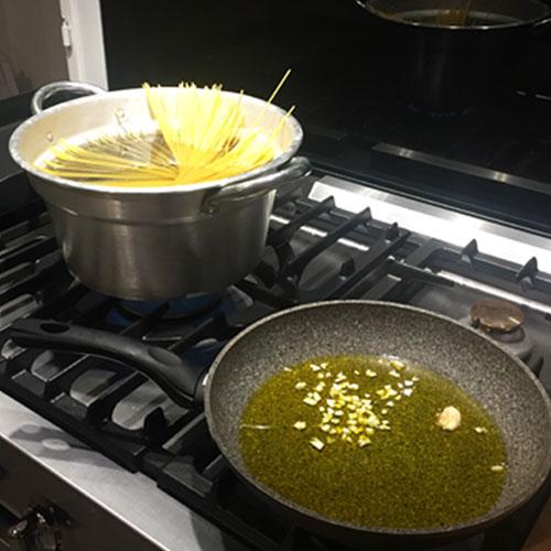 cuisson pâtes et ail
